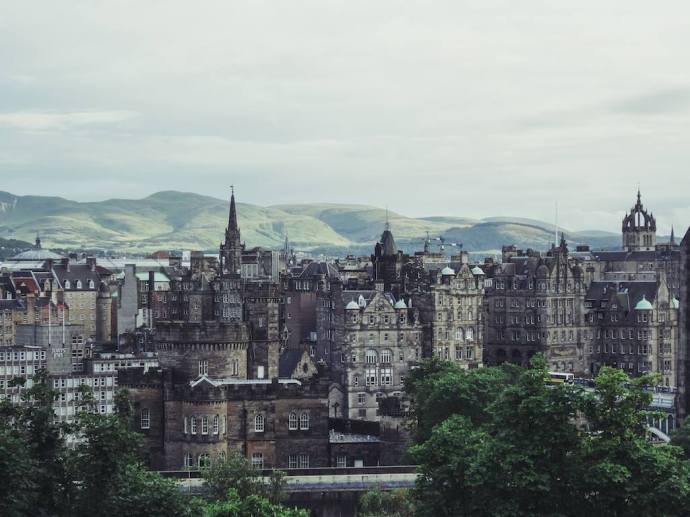 Picturesque view of Edinburgh from Calton Hill